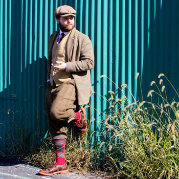 Man In Plus Fours Tweed Suit & Allen Edmonds Strandmok Brogues