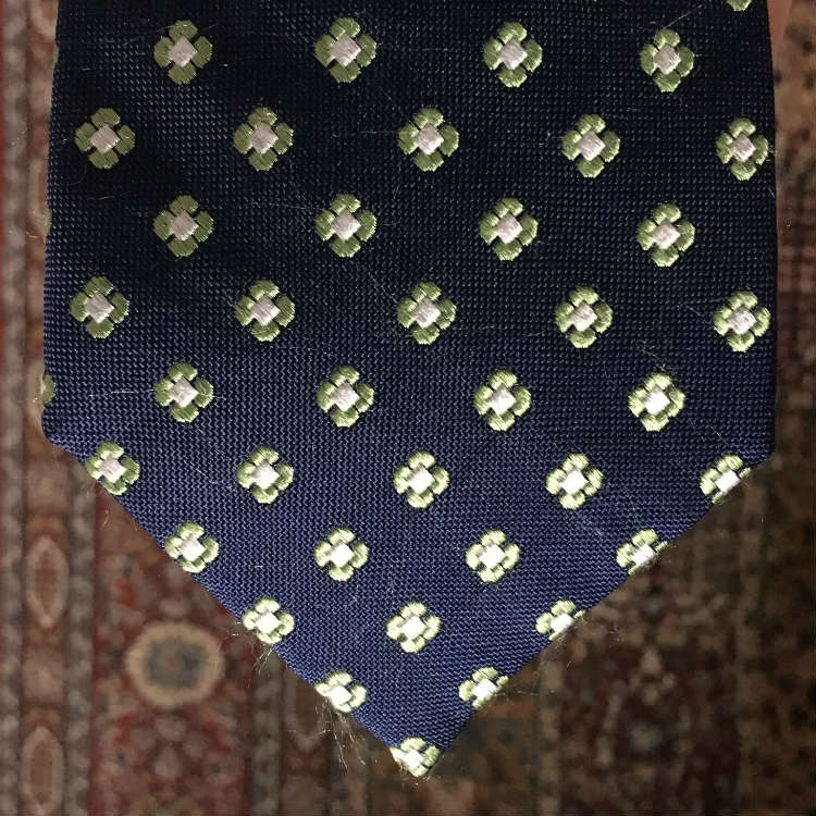 blue and green woven tie