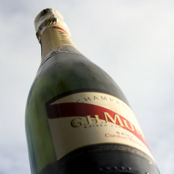 GH Mumm Cordon Rouge Bottle Sky Background