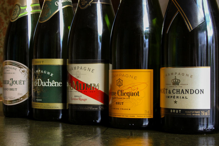 Row Of Famous Champagne Bottle Labels