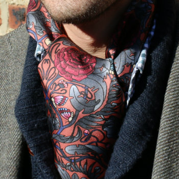 paisley neckerchief under shirt collar