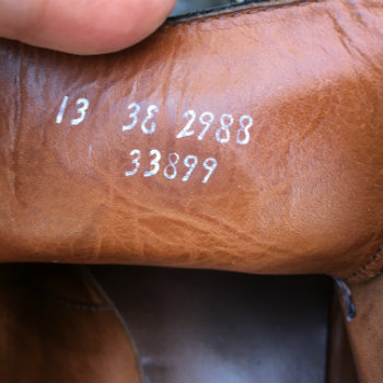 size info on inside of shoe