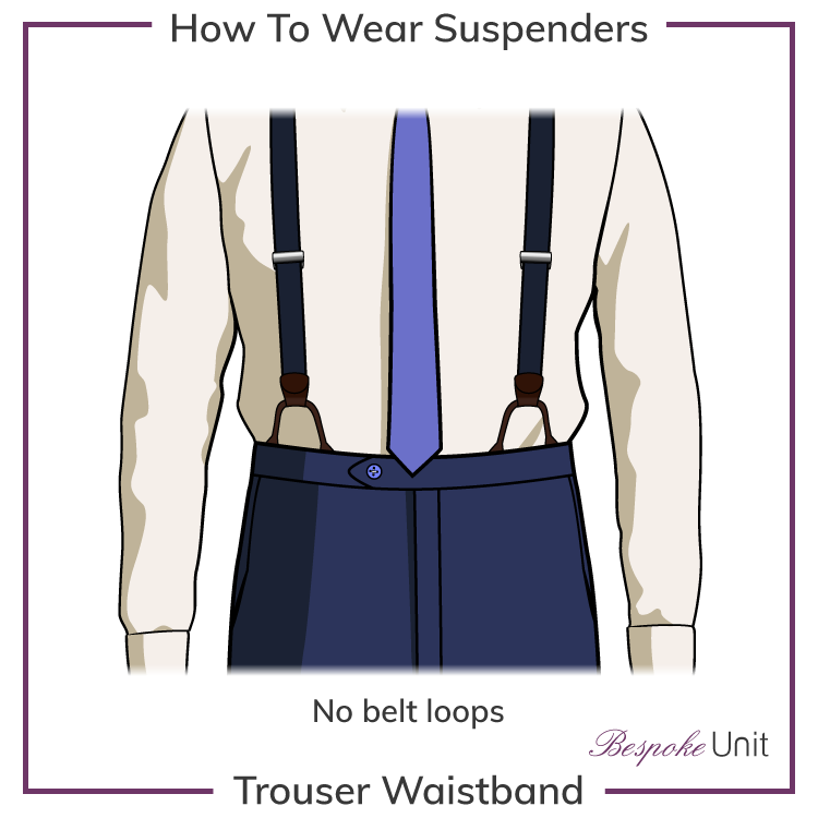 trouser waistbands for suspenders
