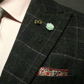 Lapel pin and flower together