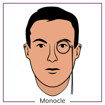 Oval Face Wearing A Monocle