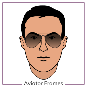 Oval Face Wearing Aviator Glasses Frames
