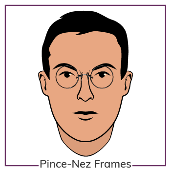 Oval Face Wearing Pince Nez Glasses Frames