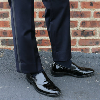 black patent leather tux shoes