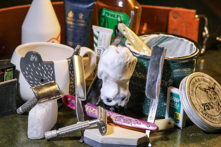 full wet shaving set with straight razor & safety razor