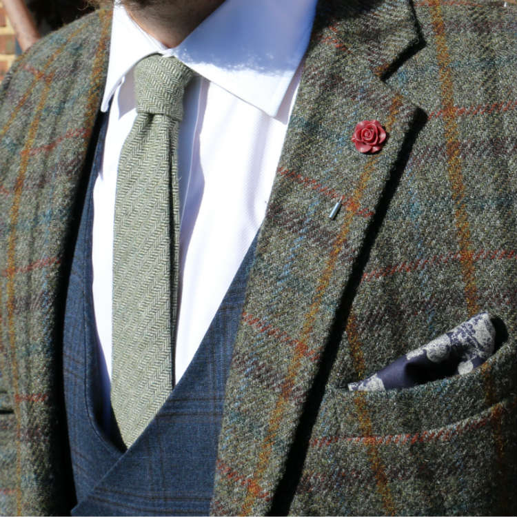plaid jacket with lapel flower