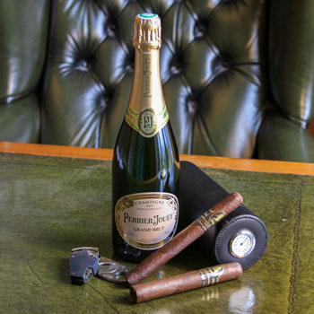 Perrier Jouet Grand Brut Champagne With Davidoff Cigars