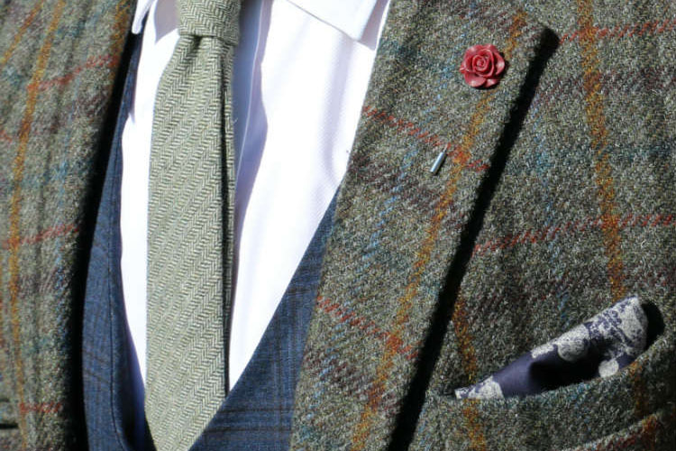 plaid-jacket-with-lapel-flower-&-woven-tie