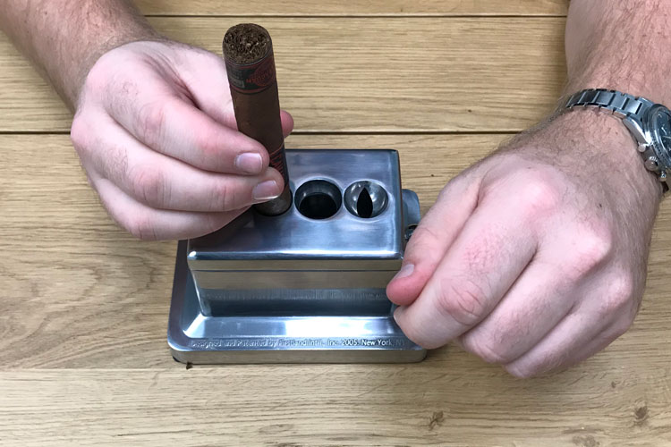 Scorpion Table Top Cigar Cutter In Use