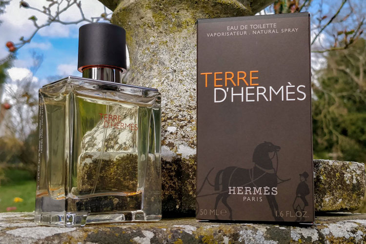 Terre d'hermès bottle on stone wall