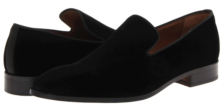 Massimo Matteo Velvet Slip On Tuxedo Shoes