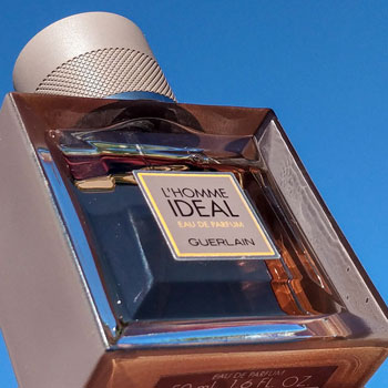 Guerlain L'Homme Ideal Eau de Parfum Bottle Sky Background