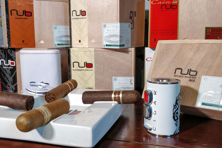 Close Up Of Various Nub Cigars & Products