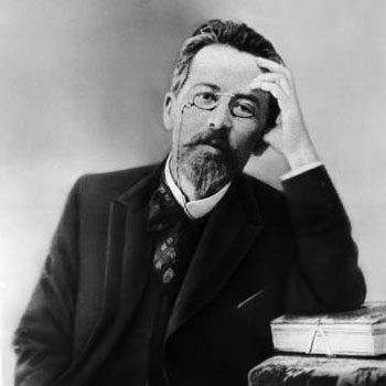 anton chekov wearing pince nez glasses