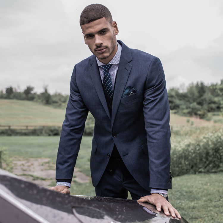 Model Wearing Indochino Hereford Cavalry Twill Indigo Suit