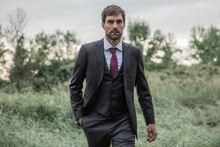 Model Wearing Indochino Hemsworth Charcoal Suit