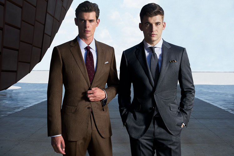 Models In Black Lapel Custom Suits