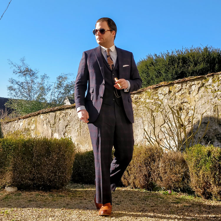 Indochino Custom Suit & Aviator Sunglasses
