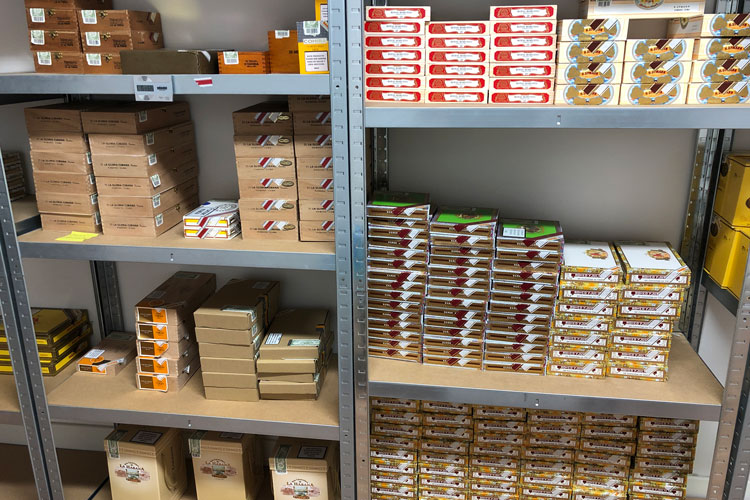 Montefortuna Cigars Warehouse Shelves