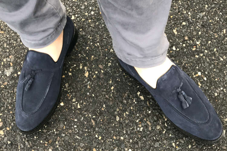 Blue Moccasin Loafers & Grey Pants