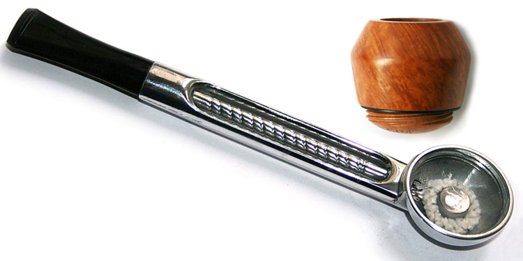 Falcon Standard Chrome Straight Tobacco Pipe Stem & Hunter Bulldog Bowl