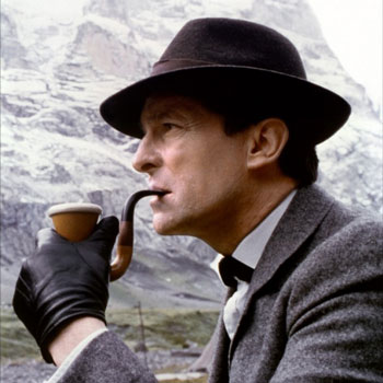 Jeremy Brett as Sherlock Holmes smoking a Calabash Pipe
