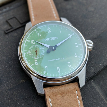 Weiss Gauge Watch Light Green Dial Closeup