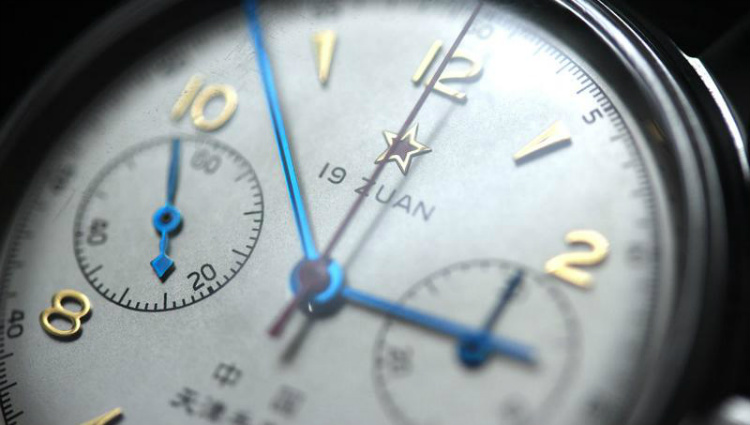 Seagull Watch 1963 Pilot Chronograph Dial Closeup