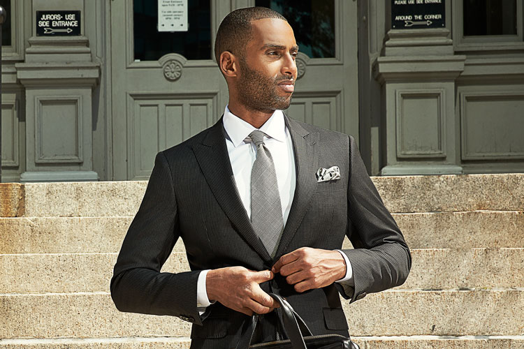 Black Lapel Graphite Grey Pinstripe Suit