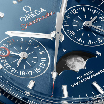 Omega Speedmaster Moonphase Sunray Dial Closeup