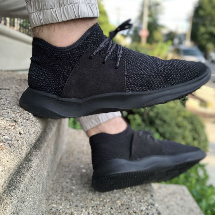 Vessi Waterproof Shoes On Feet With Joggers
