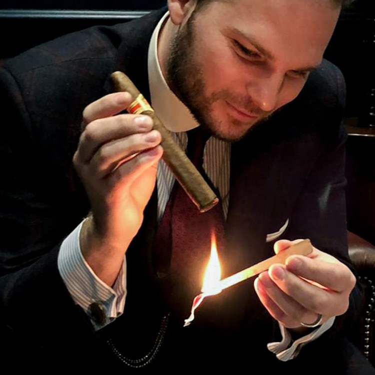 Lighting A Cigar With Cedar Spills