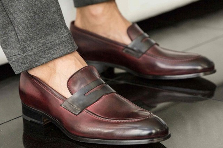 Ace Marks Burgundy Penny Loafers