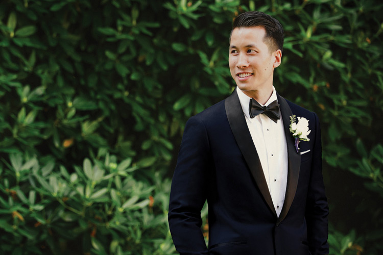Black Lapel Wedding Tuxedo & Boutonnière